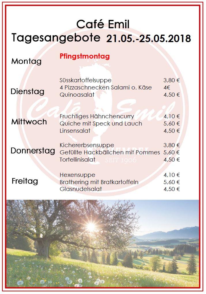 Wochenplan Café Emil KW 21
