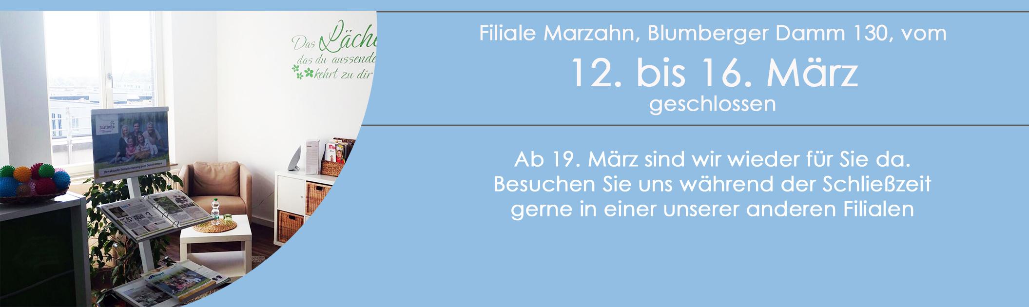 Filiale Marzahn vorübergehend geschlossen